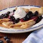 Blueberry crepes made with our own eggs and handpicked blueberries