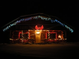 Christmas lights at Cloudberry Cabin, Tok, Alaska